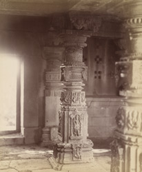 Close view of column showing sculptural detail, interior of Lakshmi-Narayana Temple, Pedgaon
